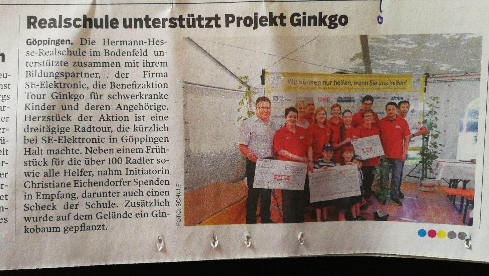 Bildungspartner Hermann Hesse Realschule unterstützt Tour Ginkgo